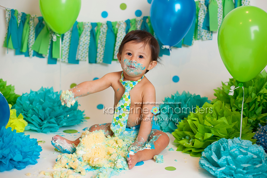 Blue and green cake smash, Katherine Chambers Photography, www.katherinechambers.com