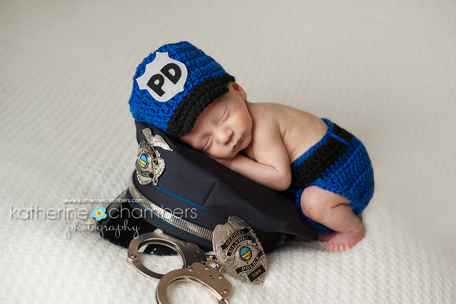 www.katherinechambers.com, Policeman newborn, Cleveland Newborn Photographer, Katherine Chambers Photography
