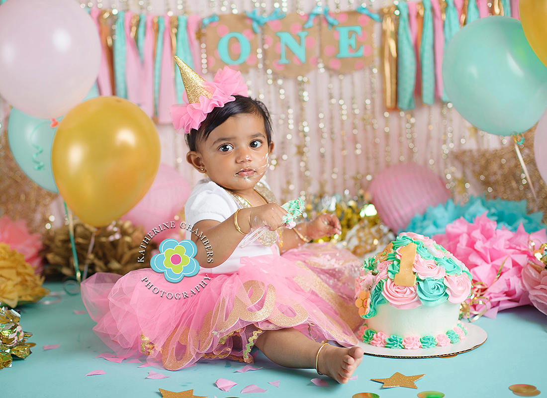 Baby's First Year, One Year Session, Pink, gold, aqua, Cake smash, Cleveland Photographer, Katherine Chambers Photography