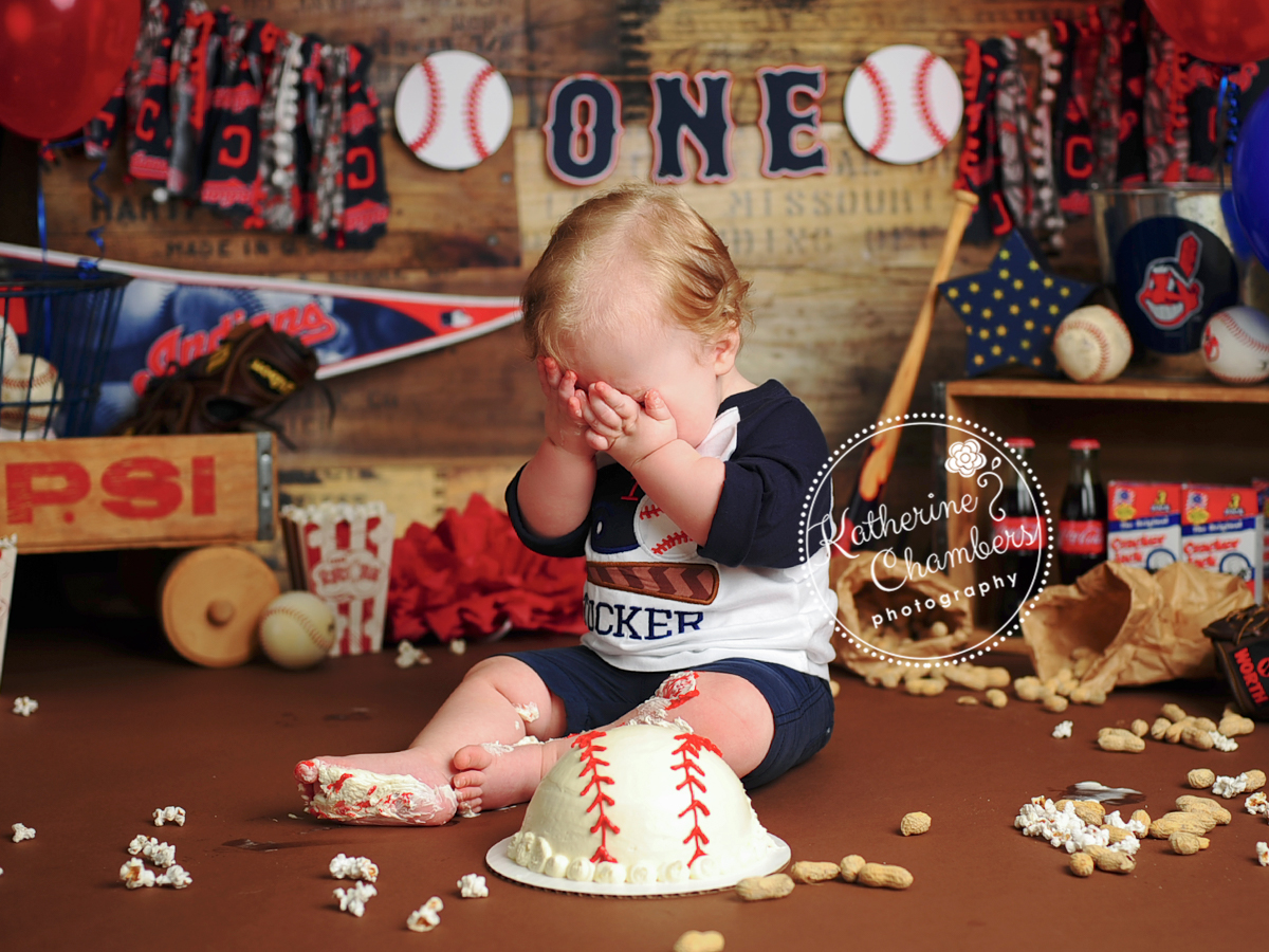 Baseball Cake, Cake Smash Baby Photographer, One Year Photos, Baby's First Year of Photography, Cleveland Indians