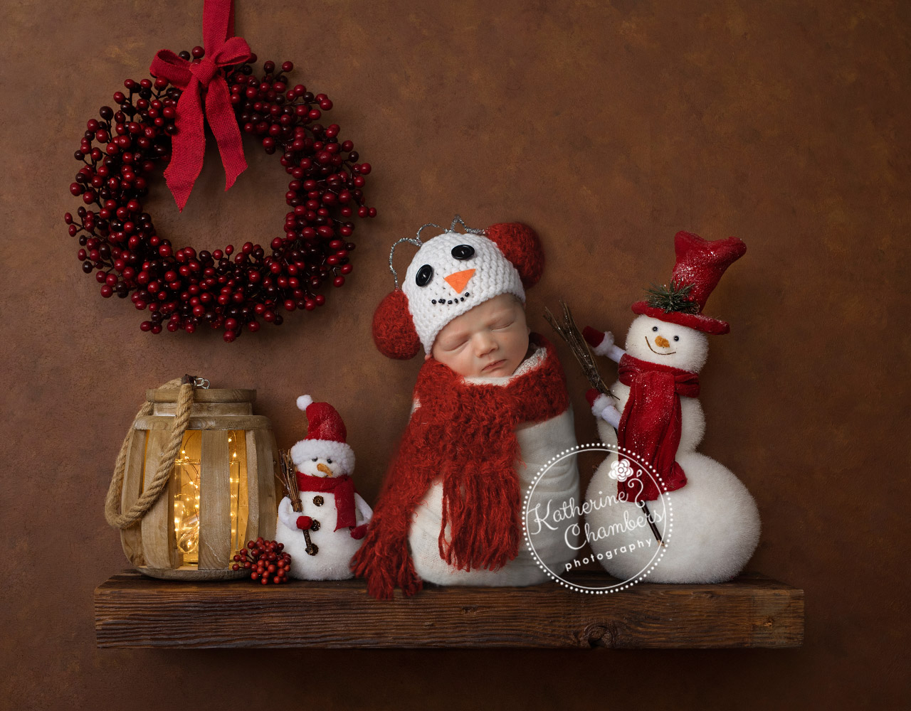 Holiday Newborn Photos, Newborn Snowman, Cleveland Newborn Photographer, Newborn on a Shelf