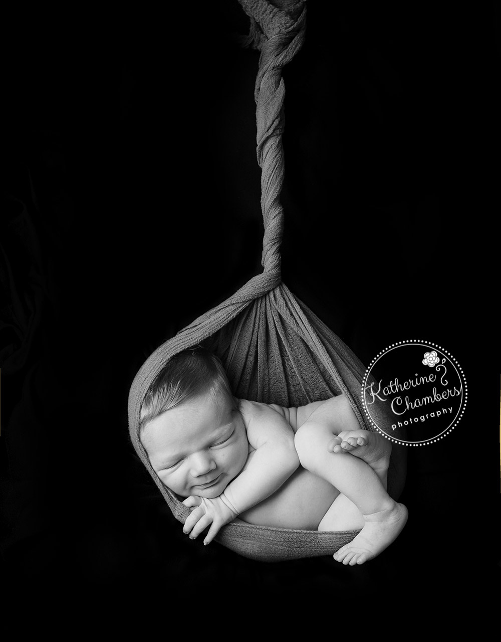 Black and White Newborn Photos, Newborn in Sling, Cleveland Newborn Photographer