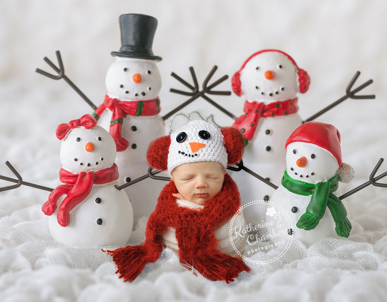 Holiday Newborn Photos, Newborn Snowman, Cleveland Newborn Photographer (1)