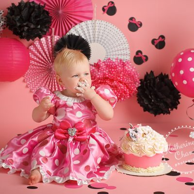 Minnie Mouse Cake Smash, One Year Session, Cleveland Baby Photography