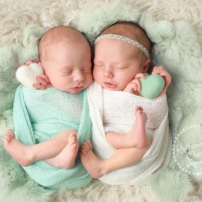 Twins in Heart, Boy/Girl Twins, Cleveland Newborn Photographer