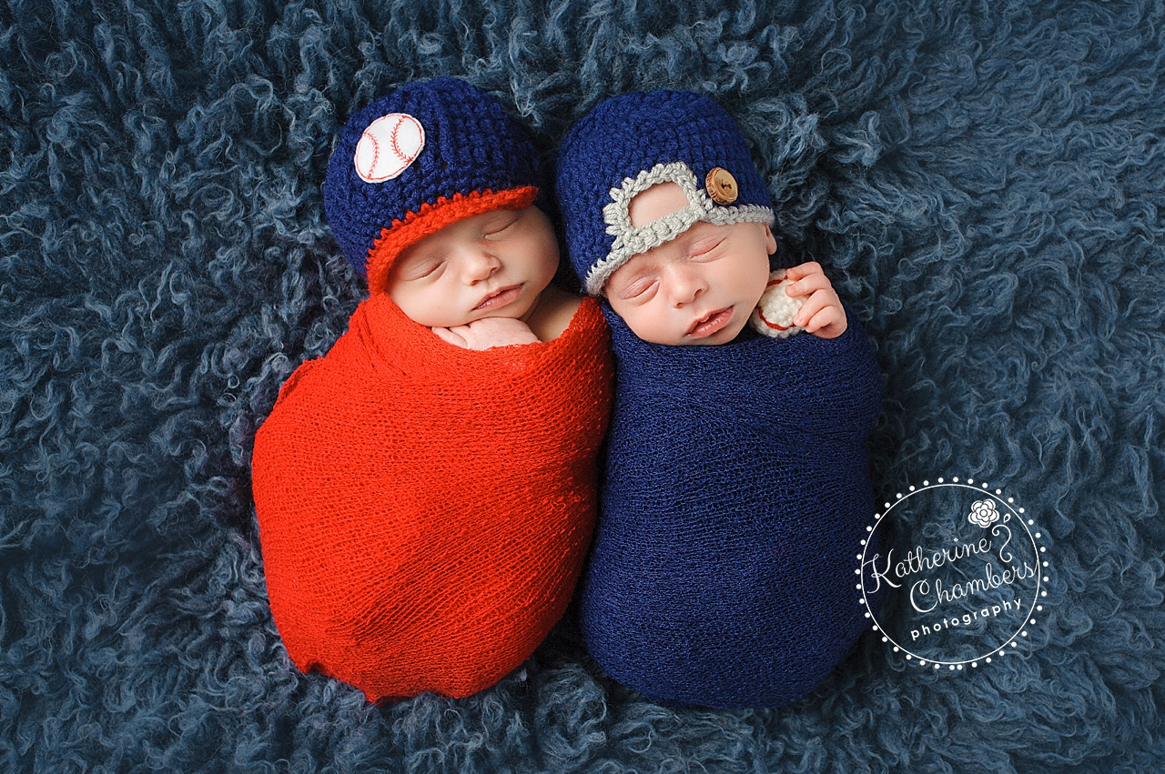 Cleveland Newborn Photographer, Cleveland Indian's Newborn Photos, Twins, Baseball Newborn Photos