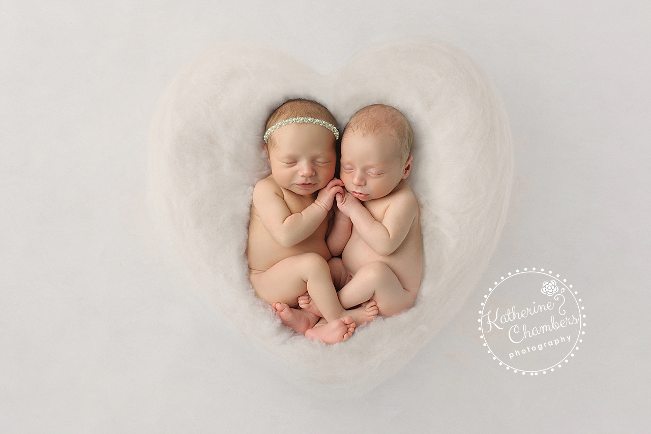 Twins in Heart, Boy/Girl Twins, Cleveland Newborn Photographer