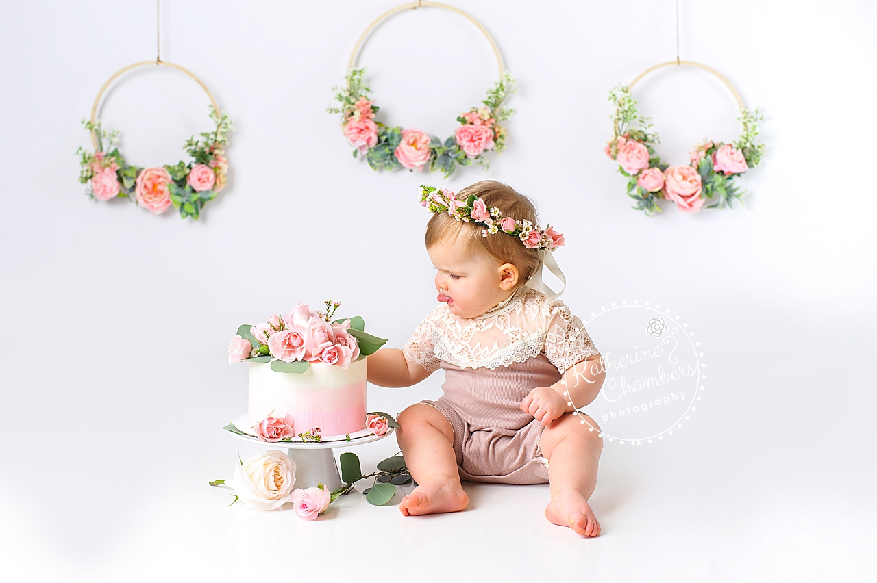 Fresh Floral Cake Smash, Avon Baby Photographer, One Year Session