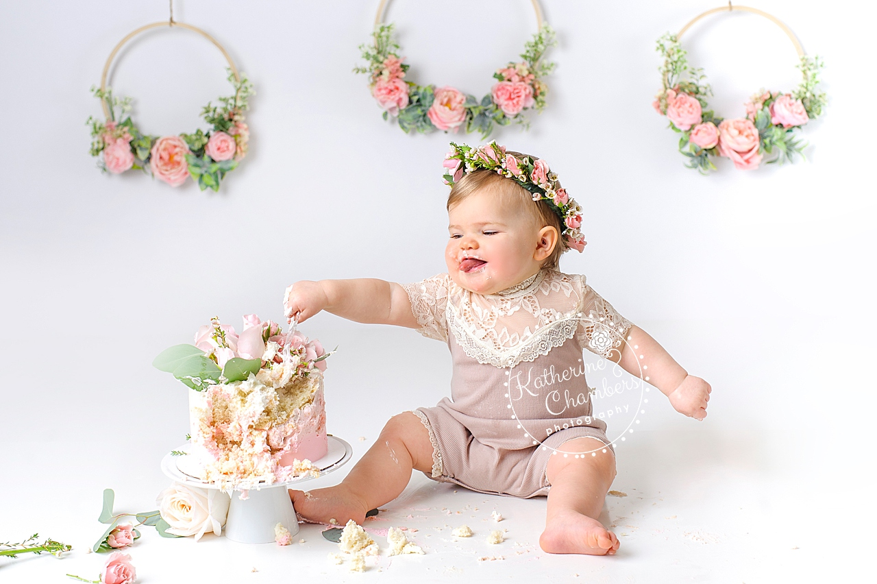 Floral Cake Smash Session, Cleveland Cake Smash, Baby's First Year