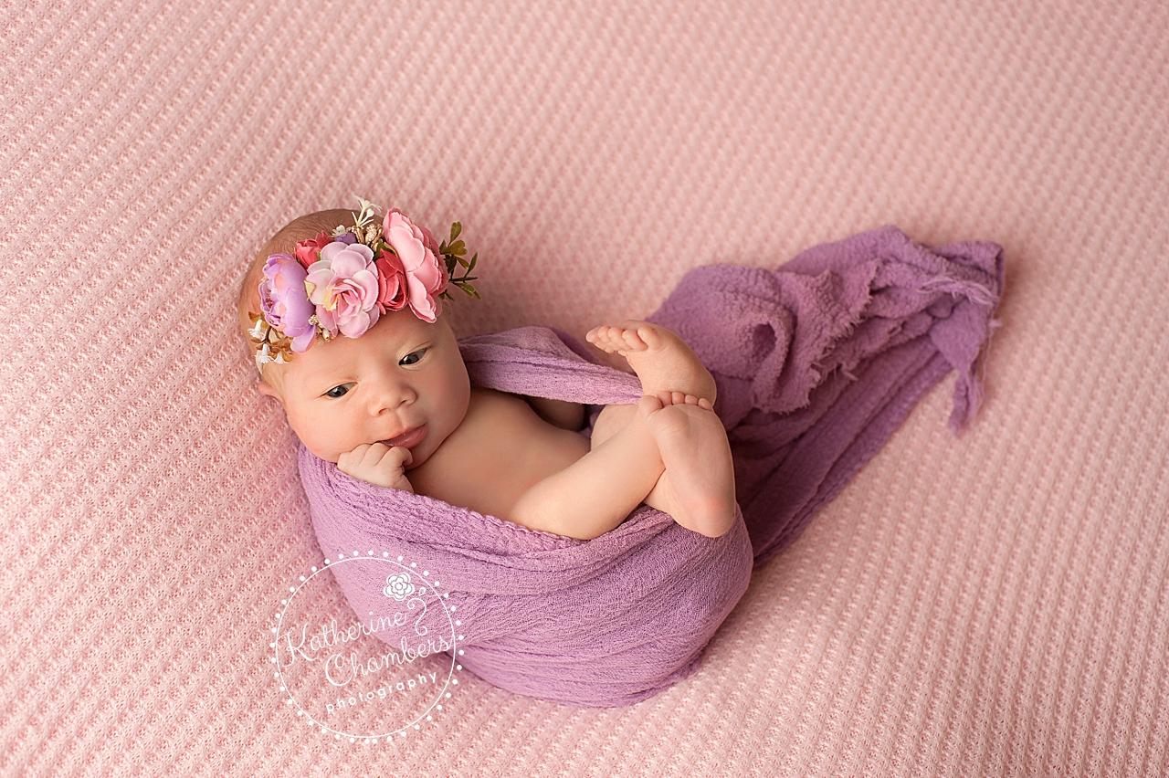 Pink and Purple Florals, Newborn Photographer Cleveland, Newborn Baby Girl