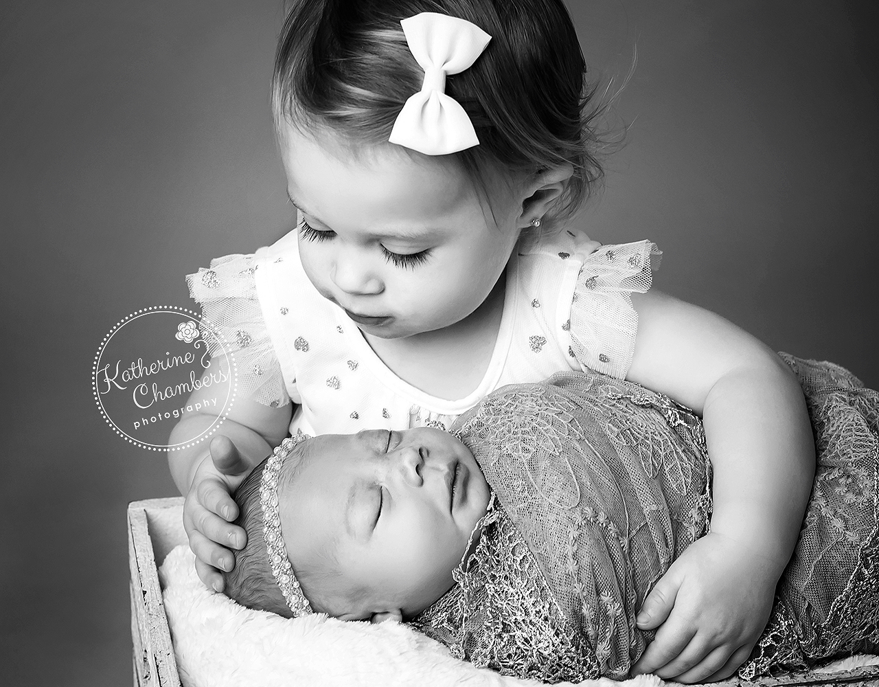 Sibling with Newborn, Black and White Newborn Photo, Cleveland Family Photographer