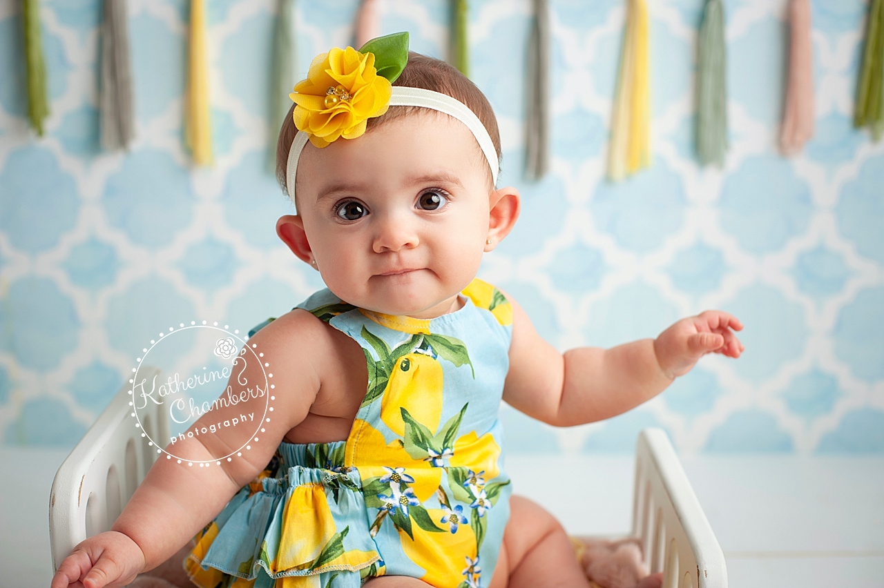 Baby Photographer Ohio, Lemon Romper, Sitter Photo Session