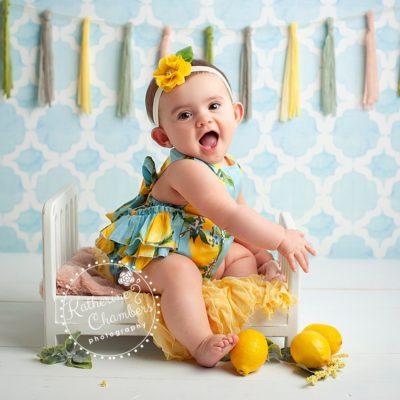 Baby Photographer Cleveland, Lemon Romper, Sitter Photo Session