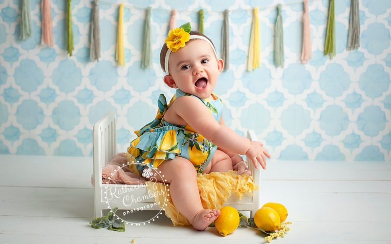 Baby Photographer Cleveland, Lemon Romper, Sitter Photo Session