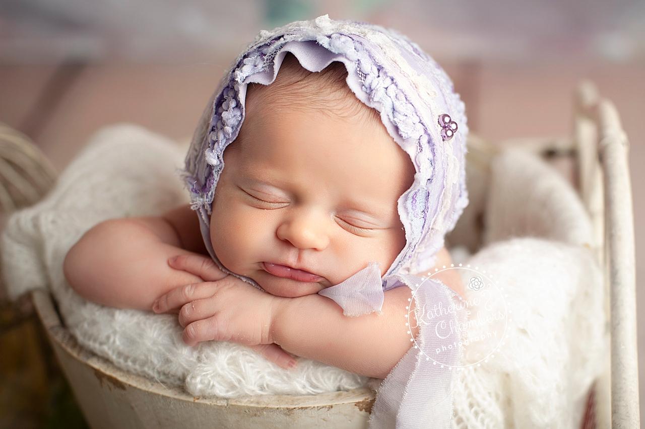 Newborn Session | Purple Bonnet