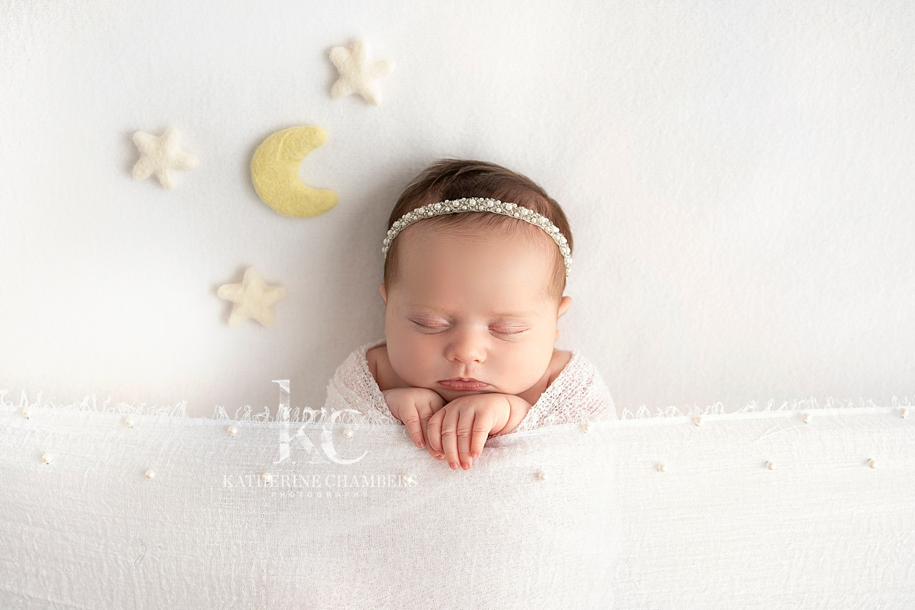 Moon and Stars Newborn Photo | Cleveland Baby Photographer